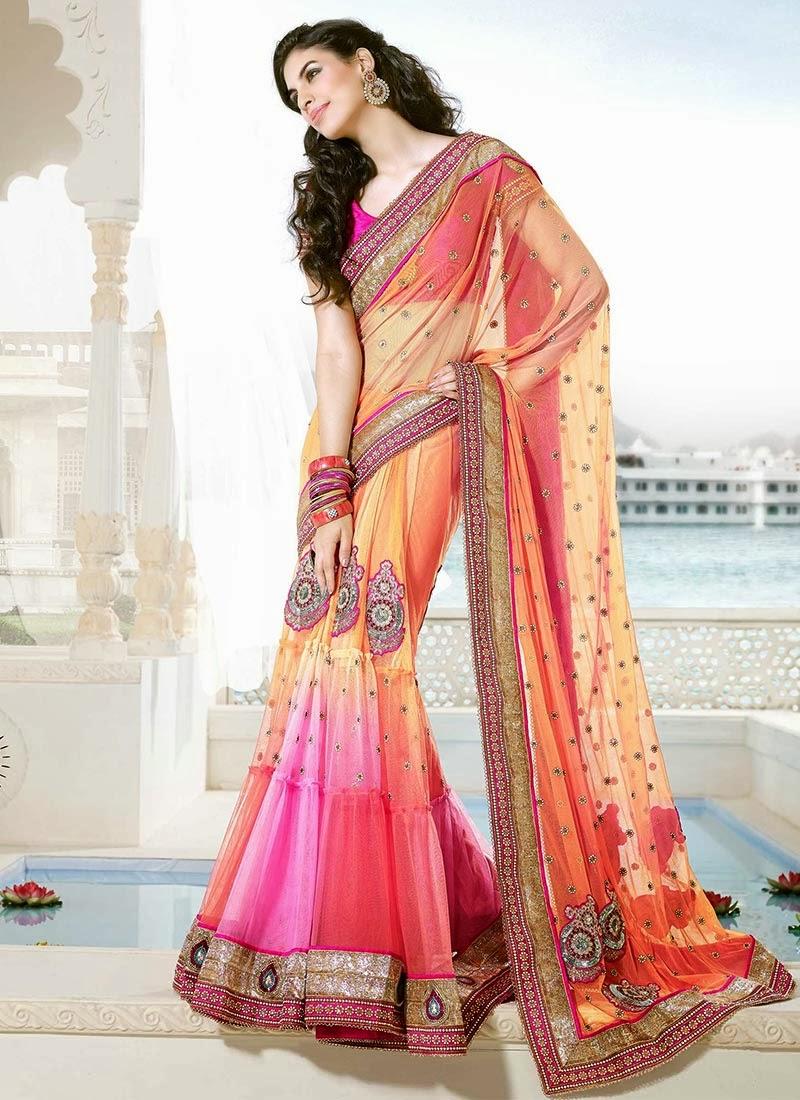 latest and stylish indian designer sarees 2014 designs