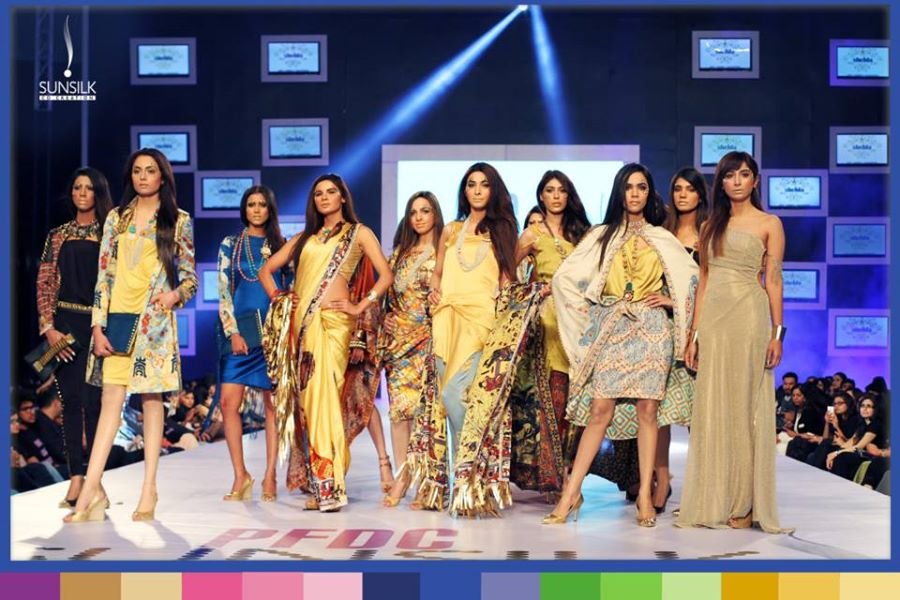 "Shehla Chatoor Silk Dresses ""Samsara Collection"" at PFDC Sunsilk Fashion Week"
