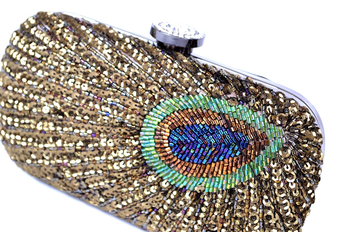 Fancy Bridal Clutch with peacock design