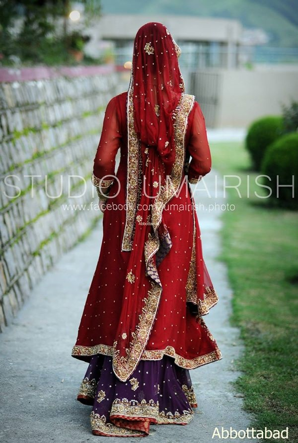 Blood Red Bridal Dress with Purple Contrast