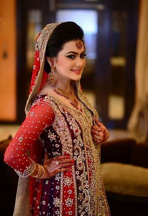 Purple Bridal Gown with Red Dupatta