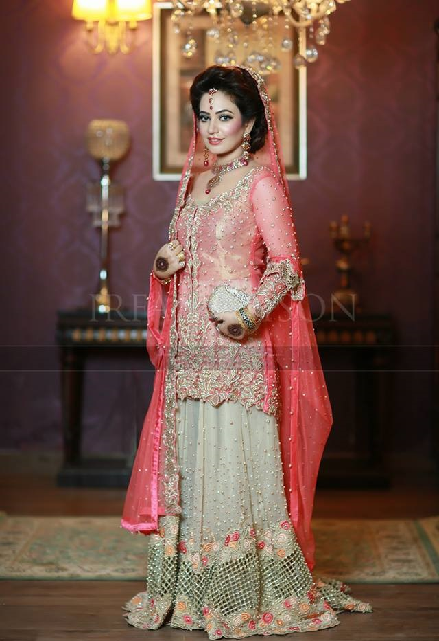 Skin and Pink Bridal Dress for barat