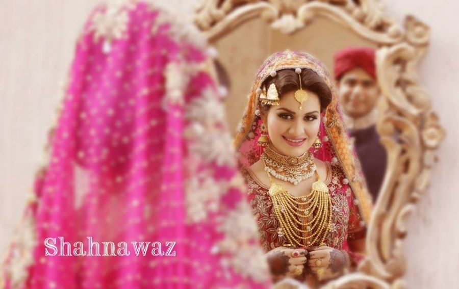 Shocking Pink Bridal Dress with Silver Embroidery