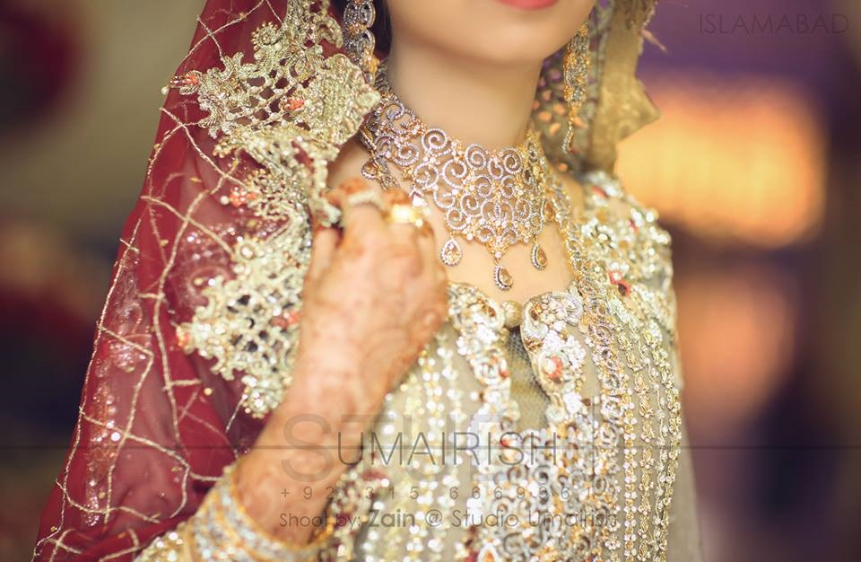 Skin Bridal Gown with Embroidered Maroon Dupatta
