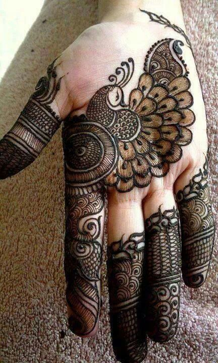 peacock mehndi designs