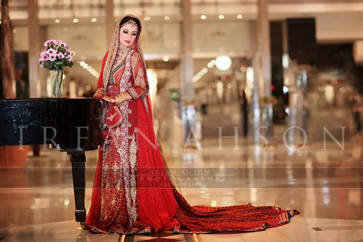 Long Tailed Red Bridal Lehenga