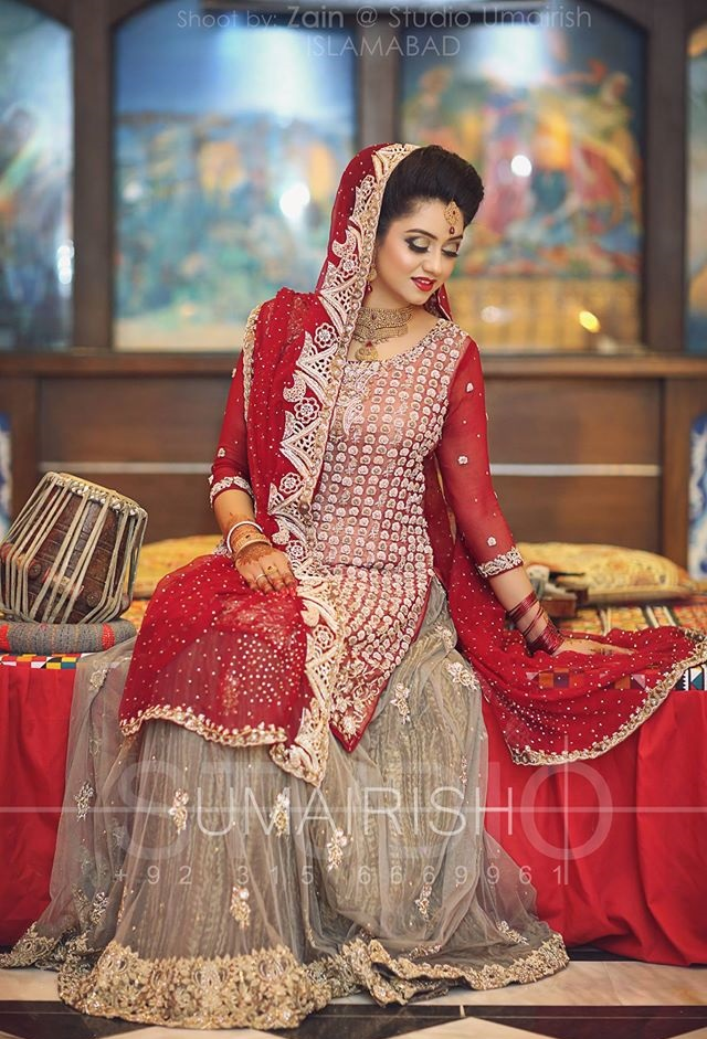 Red and grey Bridal Lehenga