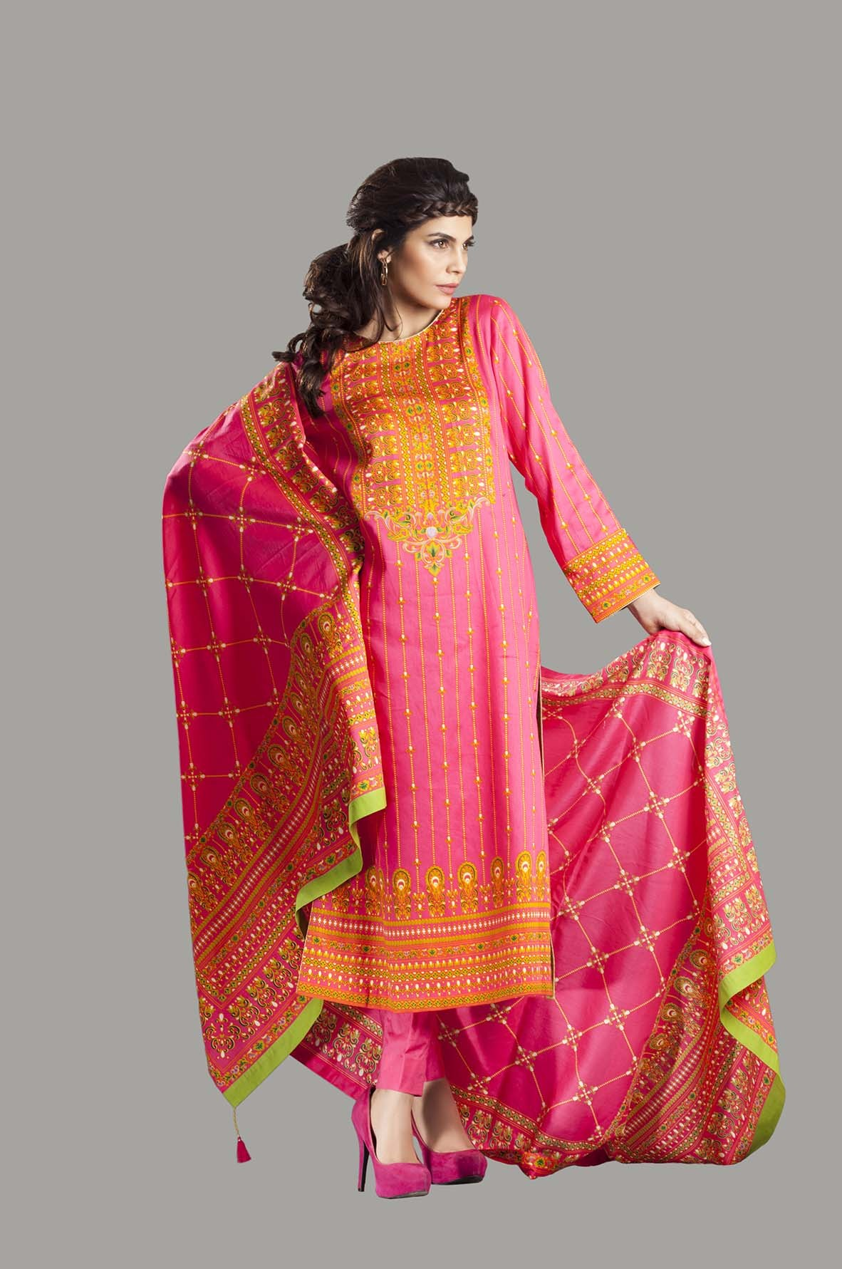 Kayseria Latest Winter Prints Best Shawls Dresses 2014: Kayseria New Fall/Winter Finer Cambric Collection For Women