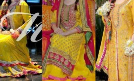 Top 15 Most Beautiful and Attractive Yellow Bridal Mehndi Dresses 2017 Trends