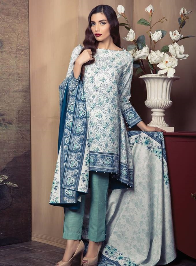 Winter Cotton Karandi Dress by Alkaram