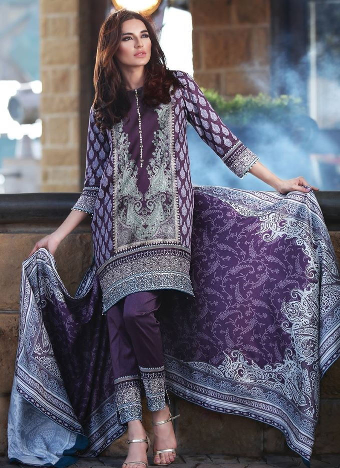 Beautiful Purple Twill Linen Winter Dress