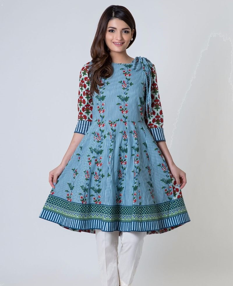 Beautiful short winter frock with three-quarter sleeves