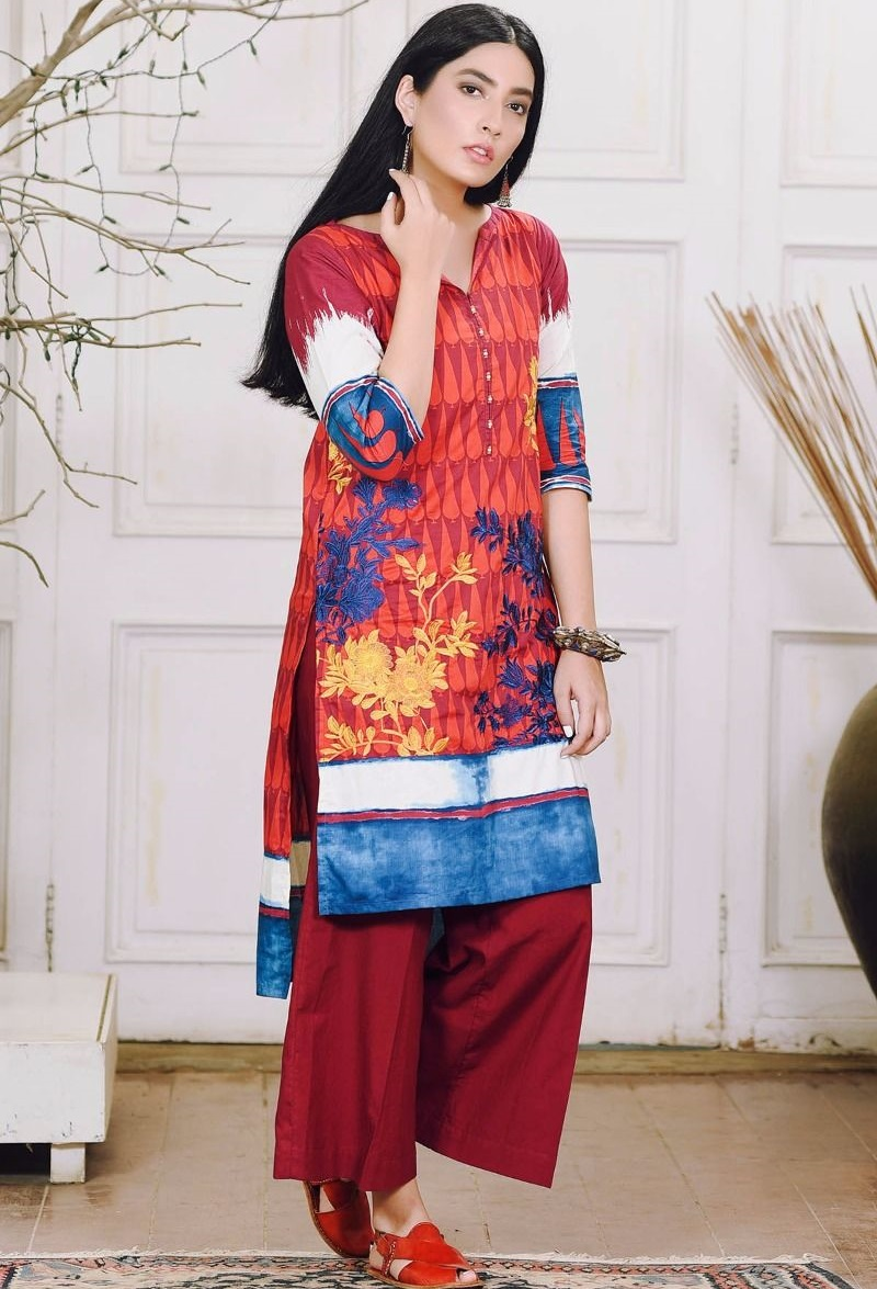 Khaadi red winter suit with blue and yellow embroidery