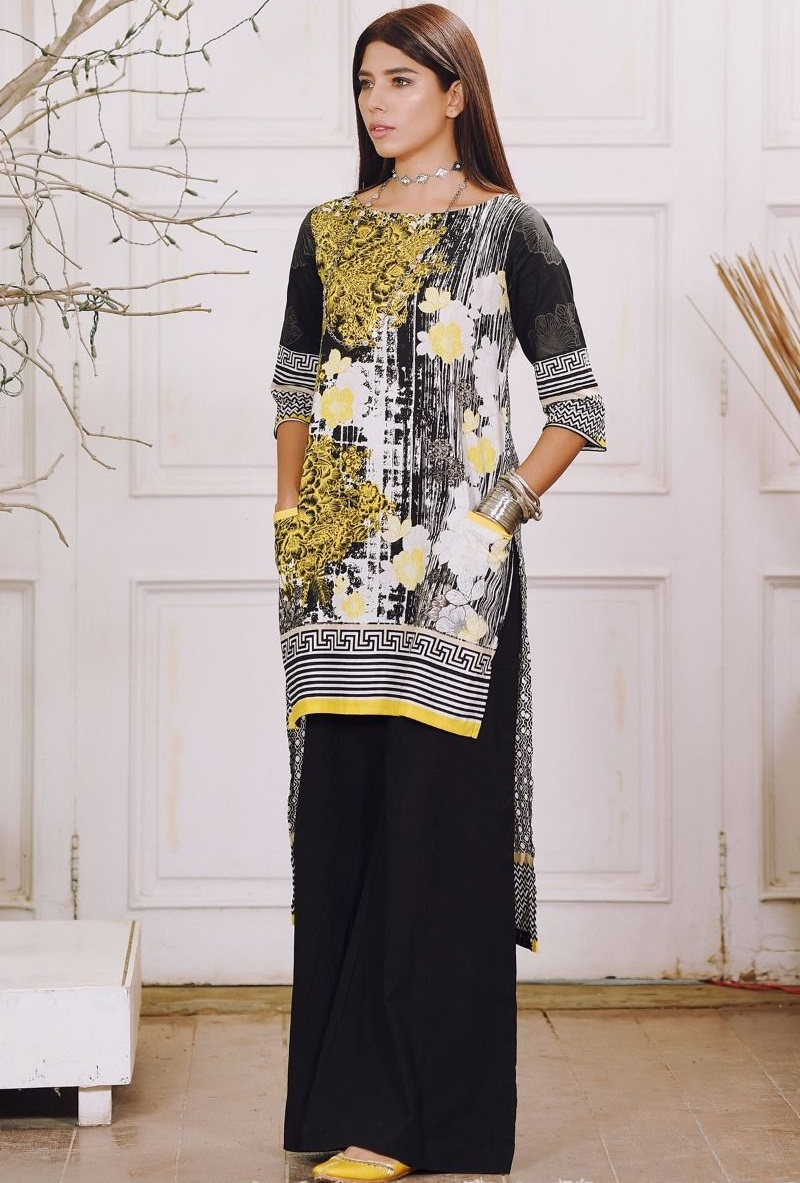 Khaadi black and white Winter suit with yellow detailings