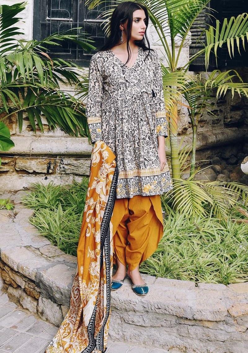 Khaadi Mustard floral printed winter dress