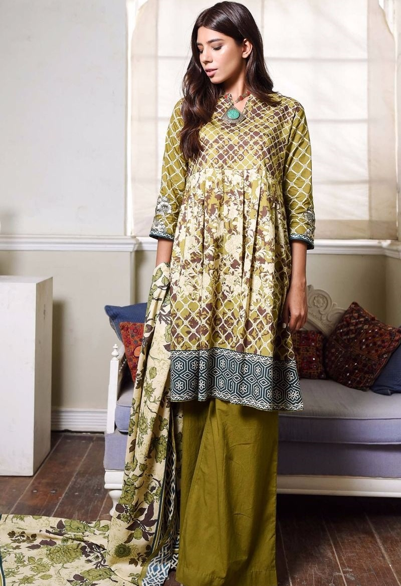 Green Cambric Winter dress by Khaadi