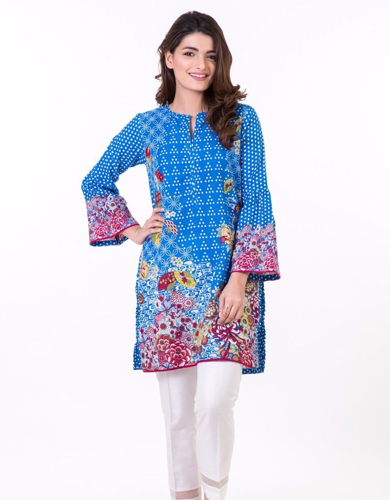 Khaadi blue winter RTW shirt with polka dots and floral print