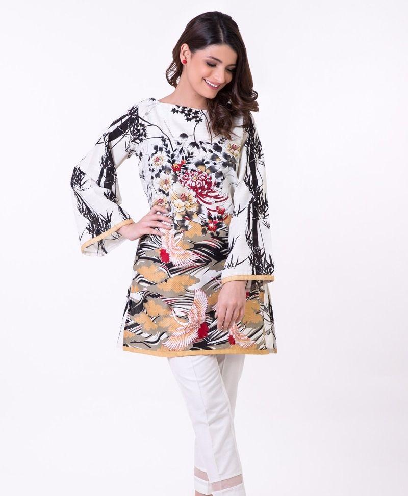 Elegant white winter tunic by Khaadi