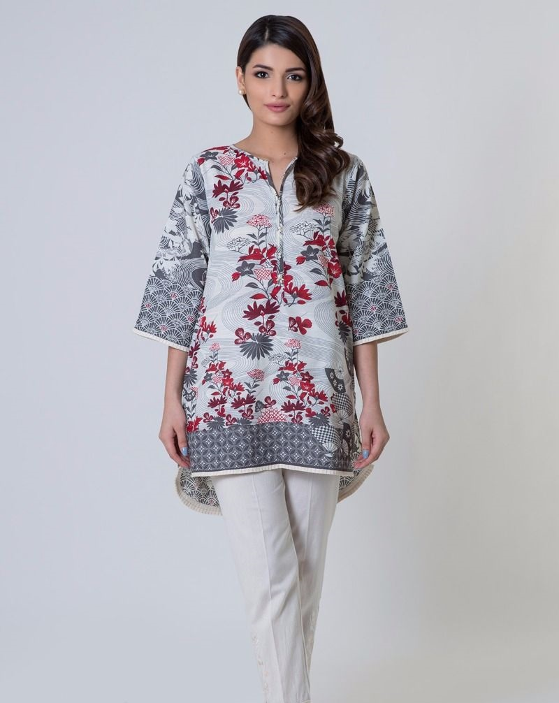 Khaadi grey winter kurta with maroon print