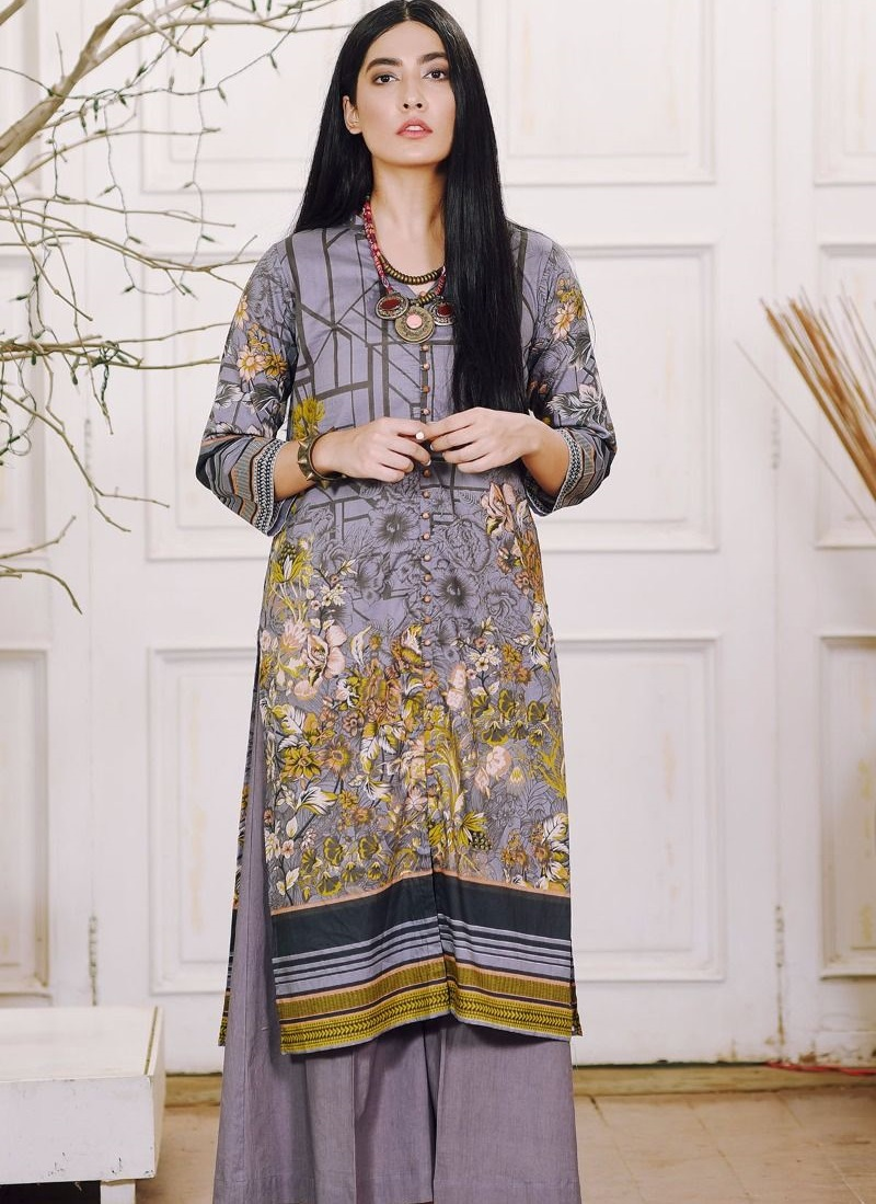 Khaadi Cambric winter suit in grey color