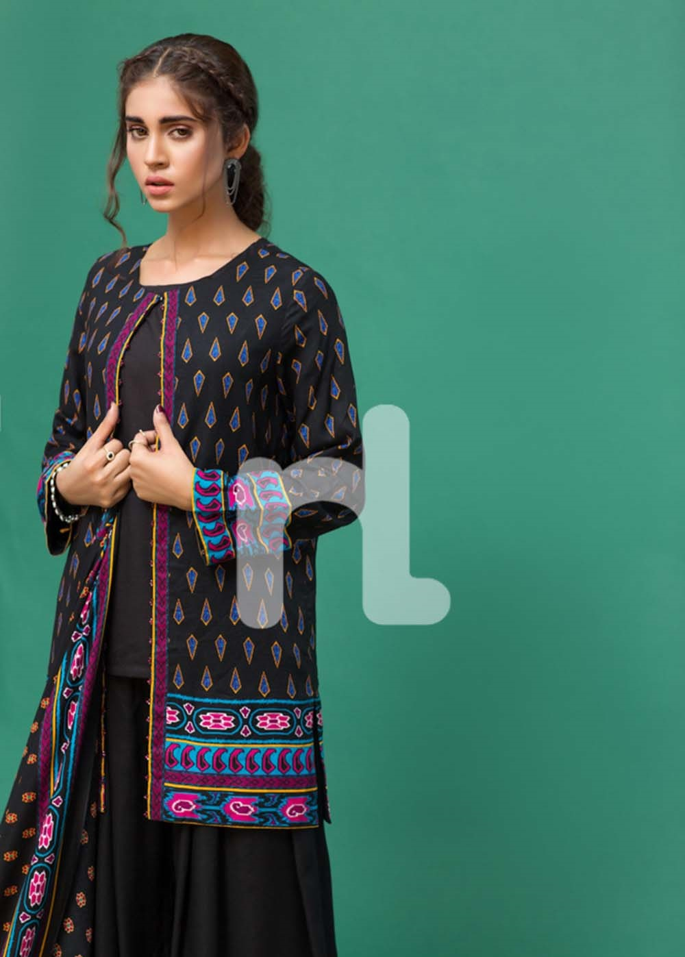 nishat black linen dress 2016