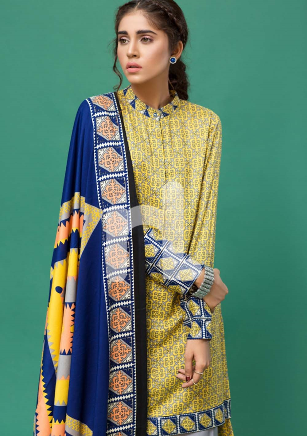 Nishat Yellow linen shirt with blue shawl