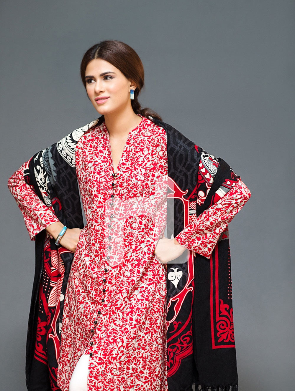 nishat red and black linen suit with pashmina shawl