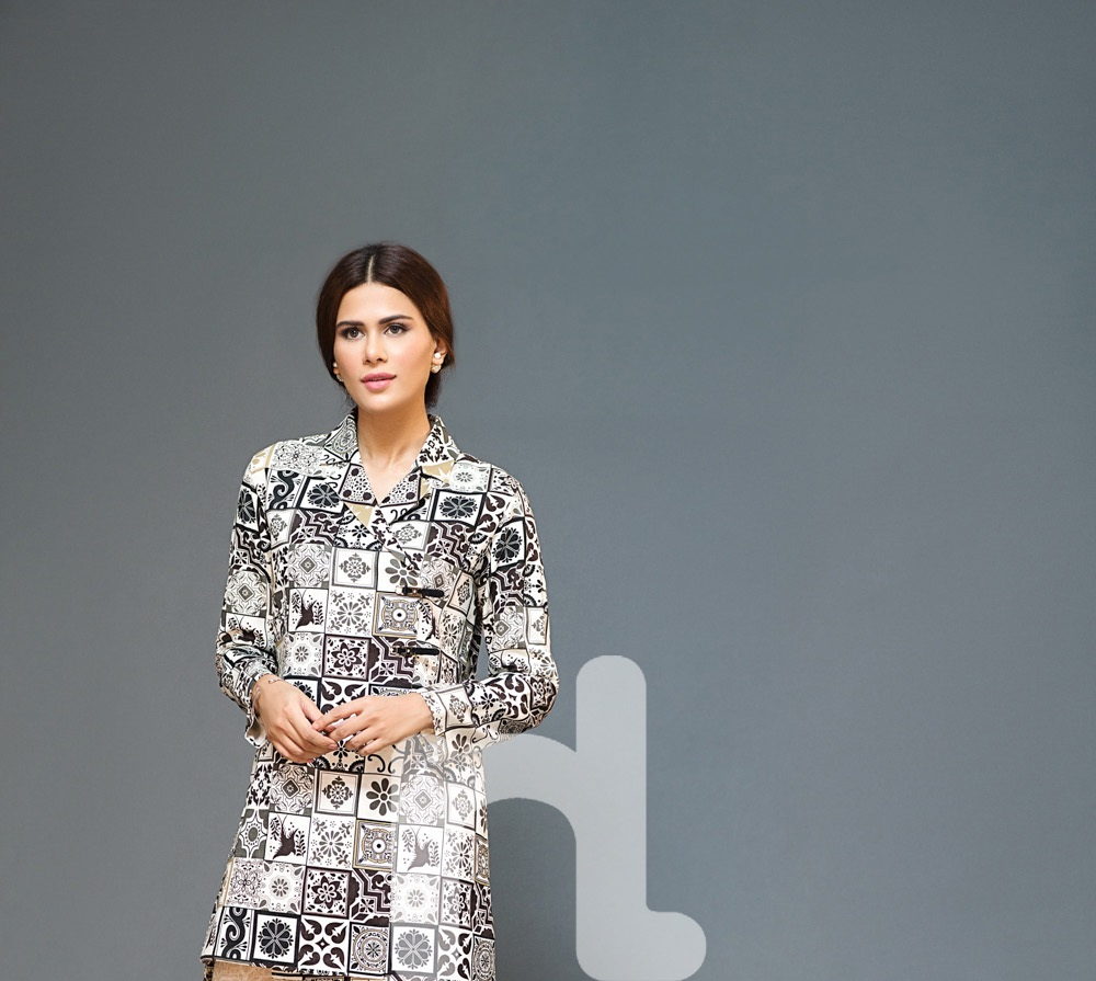 nishat printed khaddar winter shirt 2016