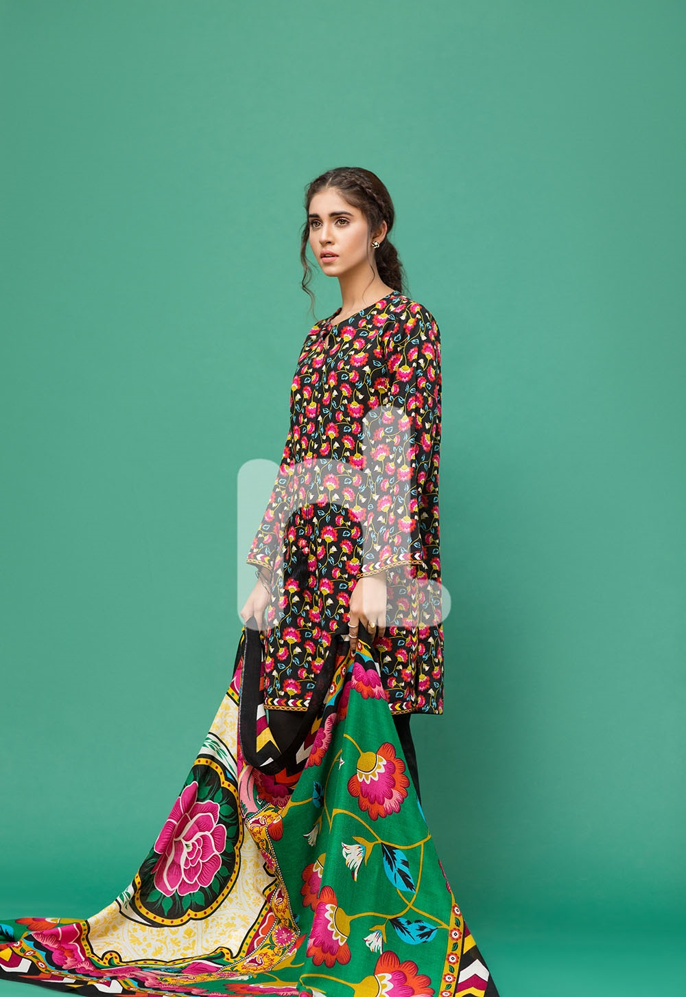 Black karandi multi-colored winter dress by nishat