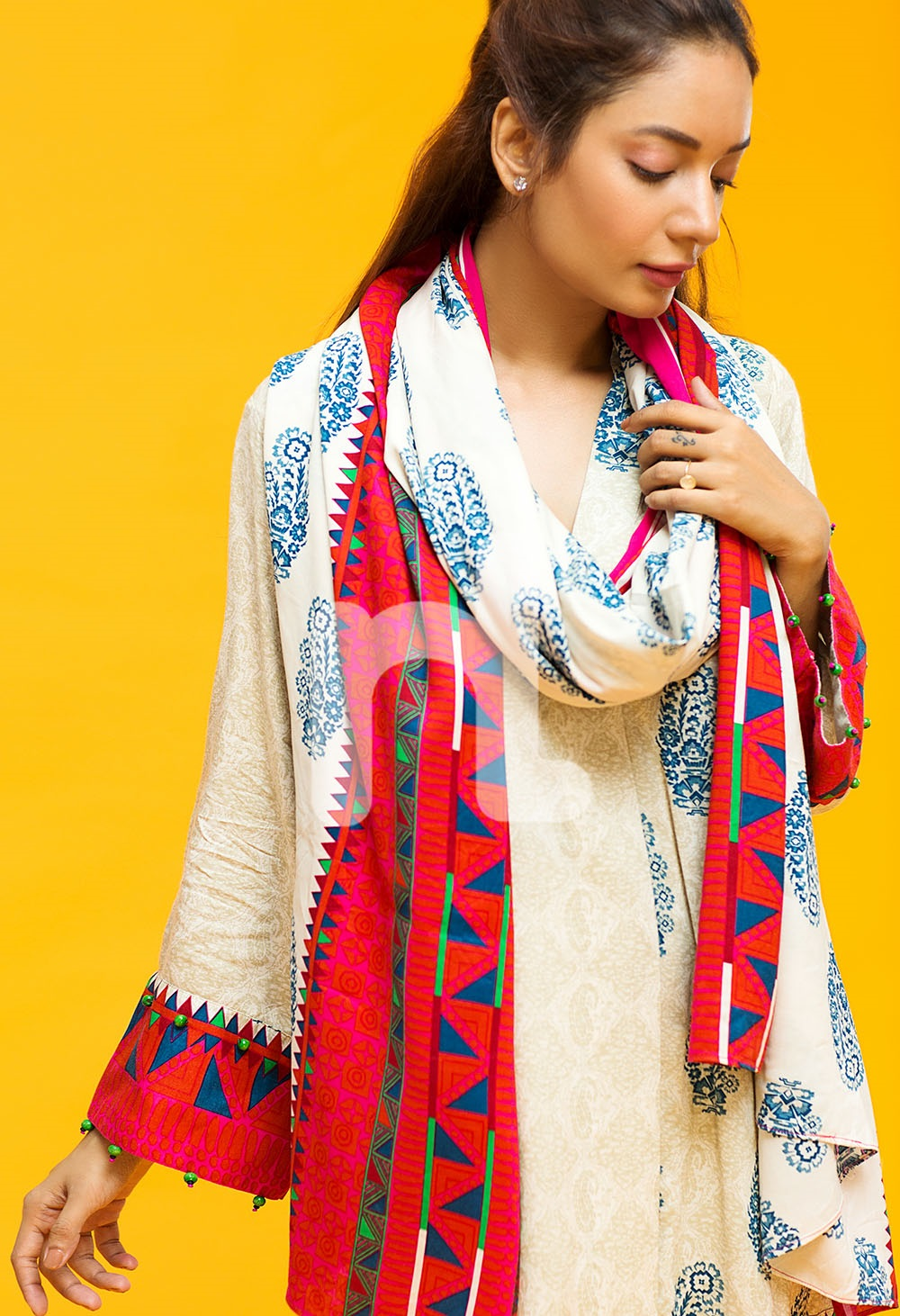 off-white linen shirt with red shawl by Nishat