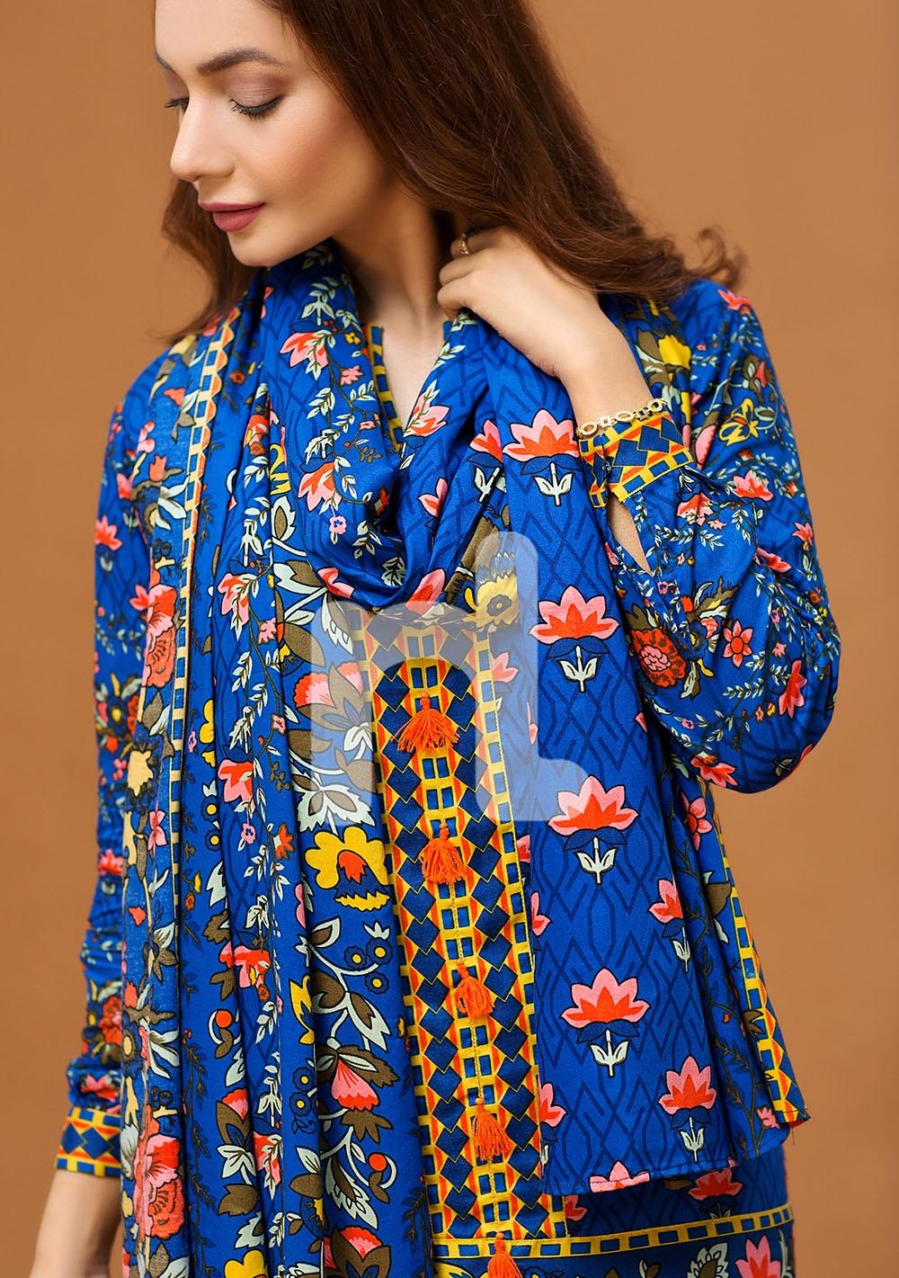 nisha nishat blue floral linen shirt