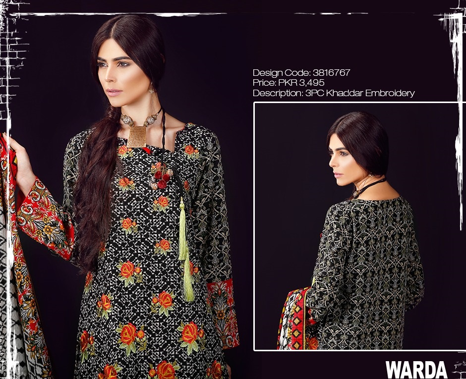 warda khaddar embroidered black dress