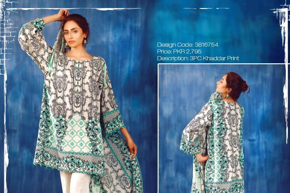 grey khaddar dress with blue print