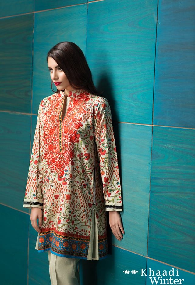 Khaadi printed winter dress