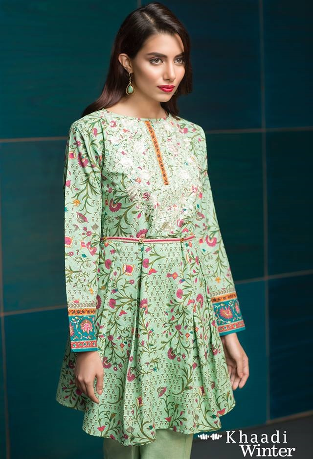 Khaadi stylish printed winter frock