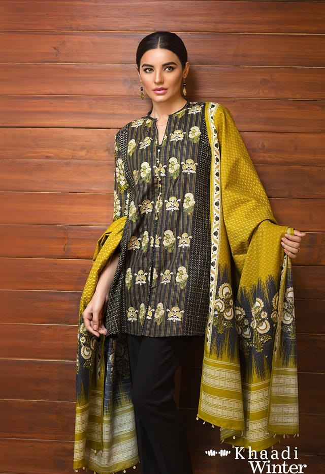 yellow khaddar dress by khaadi
