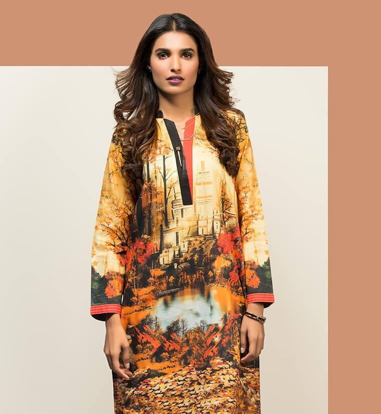 Brown winter wear digital printed shirt by Orient