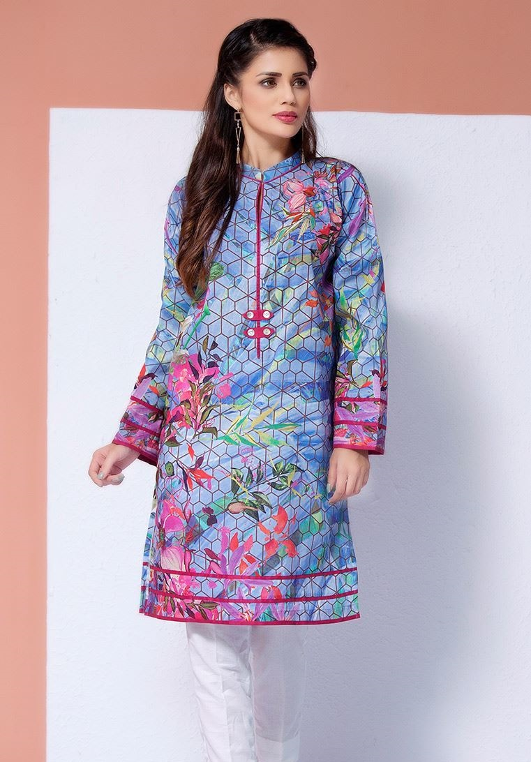 digital floral printed winter kurti