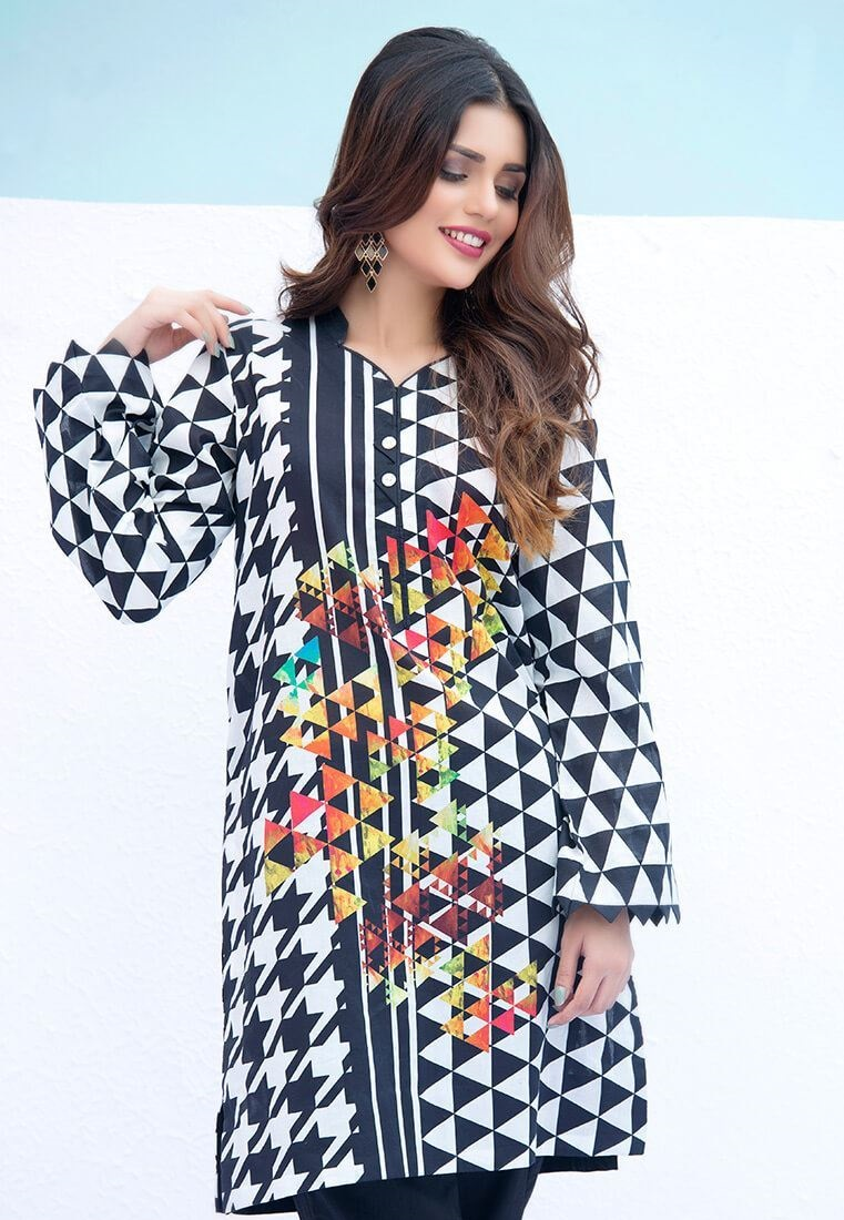 black and white zebra style cambric kurti