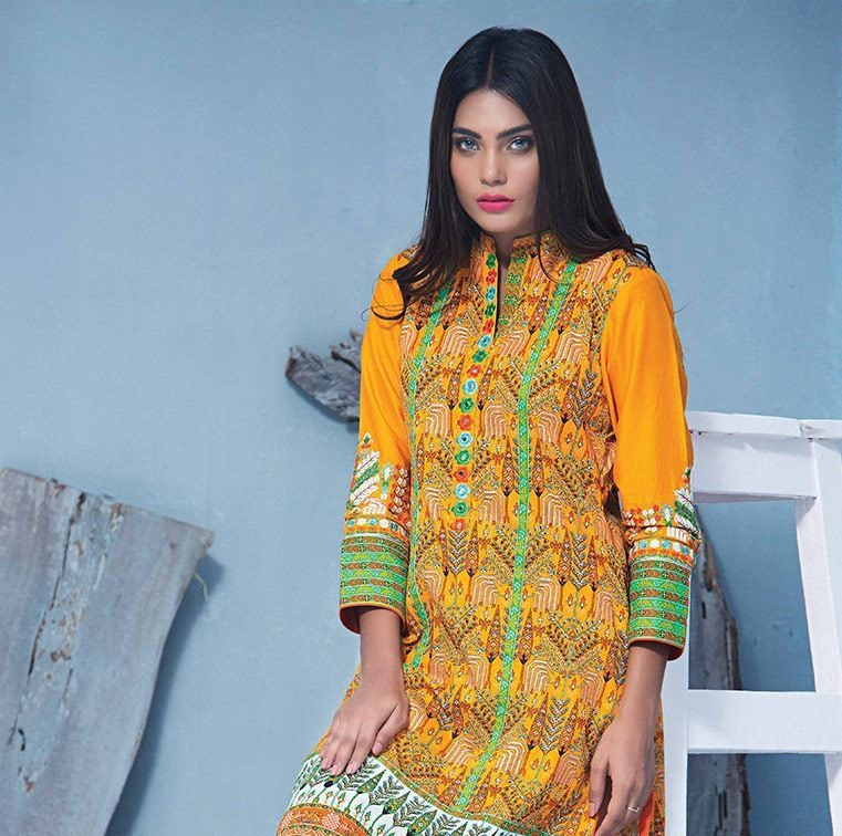 saffron colored embroidered cottel shirt