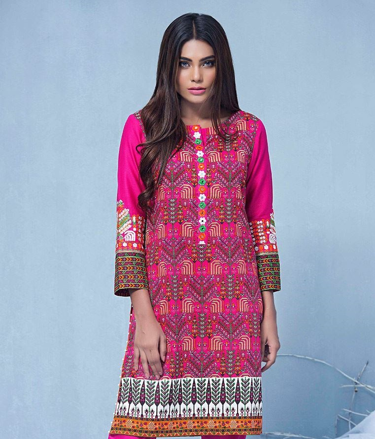 shocking pink cottel shirt with embroidery