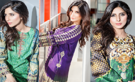 Cross Stitch Embroidered winter Dresses collection 2015-2016 for women