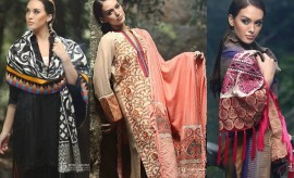 Firdous Marina Shawl Embroidered Winter Collection 2015 for women