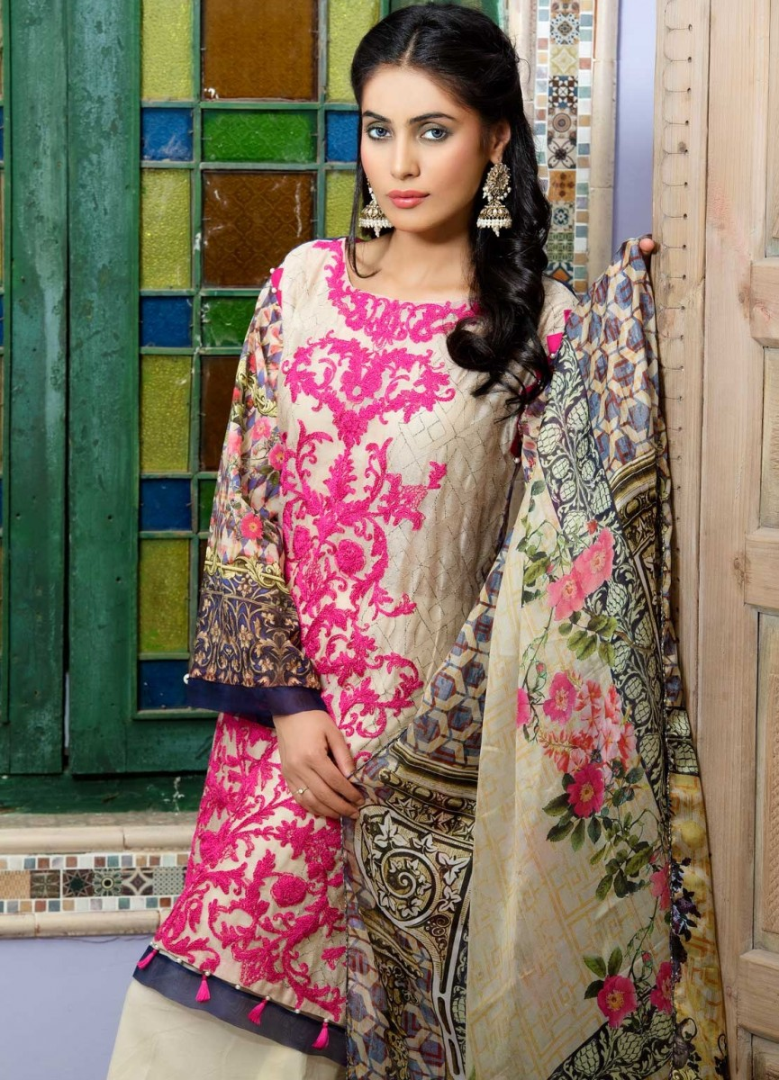Warda fully embroidered skin lawn suit with shocking embroidery for Eid
