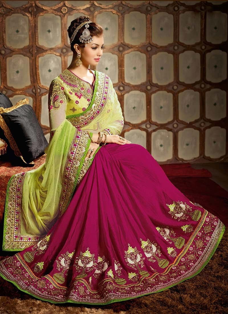 designer embroidered indian bridal sarees 2