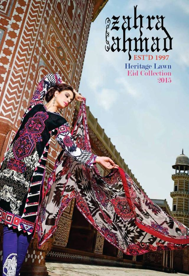 zahra ahmad new heritage lawn eid collection 2015 2016. Black Bedroom Furniture Sets. Home Design Ideas