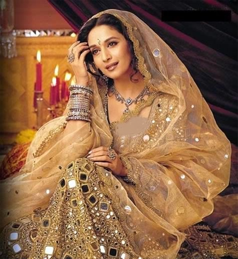 Madhuri Dixit in Skin mirror work bridal dress