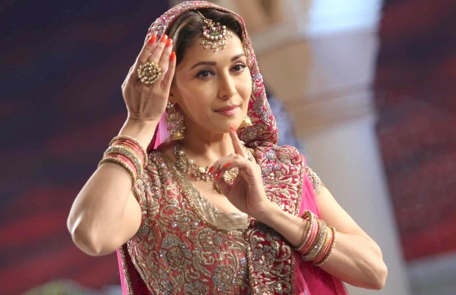 Madhuri Dixit in Pink Bridal Dress