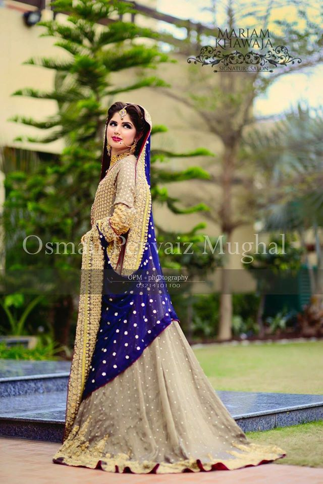 Designer Skin and Blue Bridal Dress
