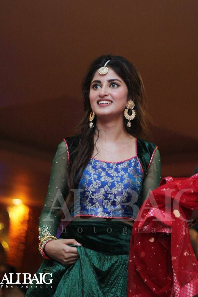 Sajal Ali in bottle green dress